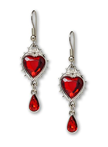 Valentines' Day Red Heart Romance Dangle Earrings Austrian Crystals Thorns and Roses Silver Finish