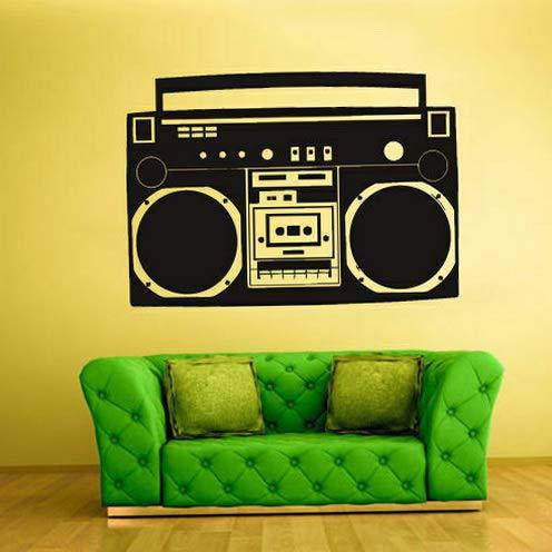 - Tomikko Boombox Wall Vinyl Sticker Decal Decor Bedroom Audio Radio Recorder Retro Z927 | Model DCR - 296