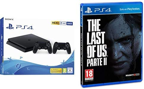 Playstation 4 (PS4) - Consola 500 Gb + 2 Mandos Dual Shock 4 (Edición Exclusiva Amazon) + The Last of Us Parte II - Edición Estándar (Exclusiva Amazon): Amazon.es: Videojuegos