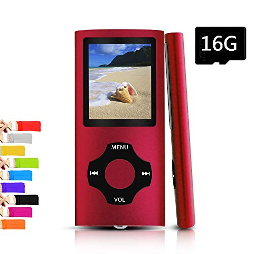 Tomameri – Portable MP3 / MP4 Player with Rhombic Button, Including a Micro SD Card and Support Up to 64GB, Compact Music, Video Player, Photo Viewer Supported,BlackRed