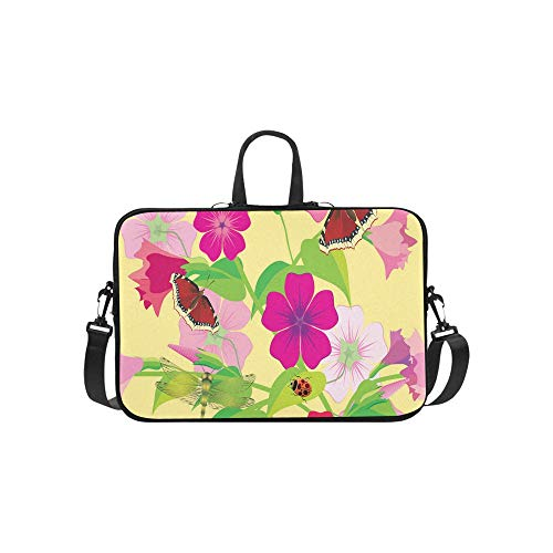 Colorful Spring Flower Butterfly Dragonfly Beetle Pattern Briefcase Laptop Bag Messenger Shoulder Work Bag Crossbody Handbag for Business Travelling