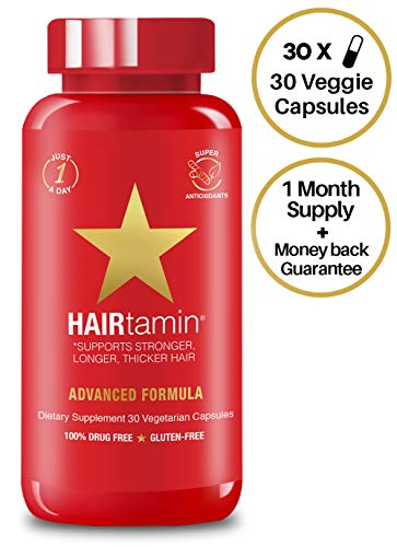 HAIRtamin Fast Hair Growth Biotin Vitamins Gluten Free thirty Vegetarian Capsules Supports Stronger Longer Thicker Hair Reduces Hair Loss and Thinning All Natural Supplement one pack