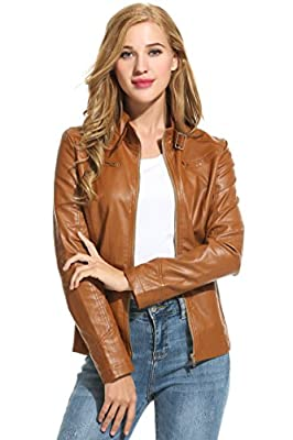 HOTOUCH Womens Soft PU Leather Moto Biker Jacket Bomber Jacket