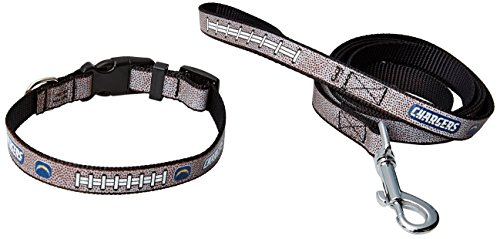 (GameWear NFL San Diego Chargers Reflective Football Collar & Leash Gift Pack, Large, Brown)