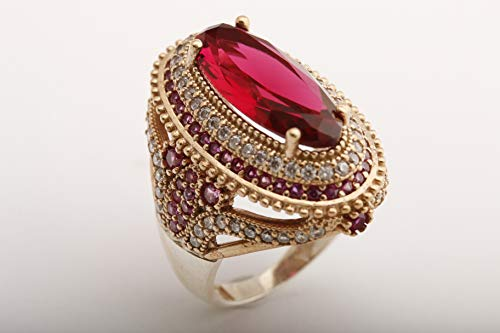 Turkish Handmade Jewelry Long Oval Shape Pink Ruby and Round Cut Topaz 925 Sterling Silver Ring Size All