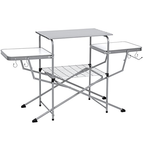 Best Choice Products Portable Outdoor Deluxe Folding Camping Grilling Table for Food Preparation, Serving w/Carrying Case, Silver