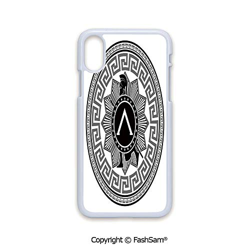 Fashion Printed Phone Case Compatible with iPhone X Black Edge Label with Greek Pattern Spartan Soldier Silhouette Retro Military Icon 2D Print Hard Plastic Phone Case