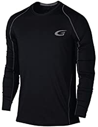 Energizing Wellness Wear | Mens Long Sleeve Compression Top | Patent Pending ThermoPrint Tech.WARMS , ENERGIZES, Health and Performance Benefits. Avail in Black , size S to XXL