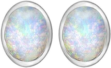 Star K Sterling Silver 8x6mm Oval Earrings Studs