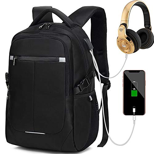 Bbjuner School Backpacks for Men and Women, Waterproof and Anti-Theft Business Travel Notebook Backpacks with USB Port and Earphone Interface, Suitable for 15.6 inch Laptop-Black. (27.2L)