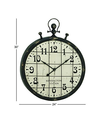 Deco 79 20363 Enticing Metal Wall Clock, 24 W x 30 H