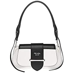 Prada Sidonie Leather Shoulder Bag Black White