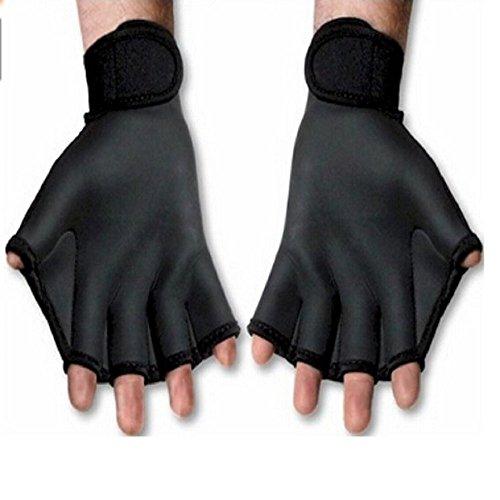 Woreach Aquatic Gloves Water Resistance Swim Training Gloves (1 Pair) (Black, M)