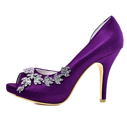 ElegantPark EP11045-IP Mujer Plataforma Peep Toe Tacón Aguja Arcos Satin Zapatos De Boda Novia AC01 Morado