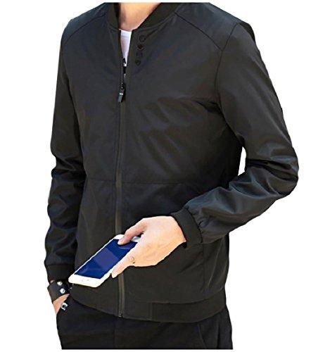 Pure Men's Color Zip RkBaoye Baseball Collar Coat Tops Black Full Mandarin wE65dxIqd