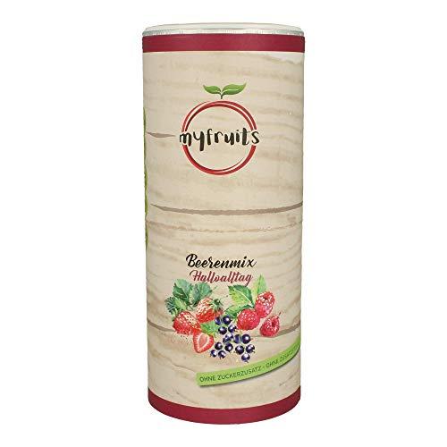 myfruits® Beerenmix - Mischung aus gefriergetrockneten Früchten - Ohne Zucker - Erdbeerscheiben, Himbeeren, schwarze Johannisbeeren (Erdbeerscheiben, Himbeeren, schwarze Johannisbeeren, 300g)