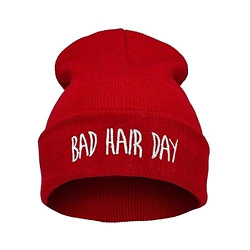 Joyci Winter Unisex Funny Bad Hair Day Hip Pop Beanie Hat Women Men Ski (Red) (Knit Hat Pop)