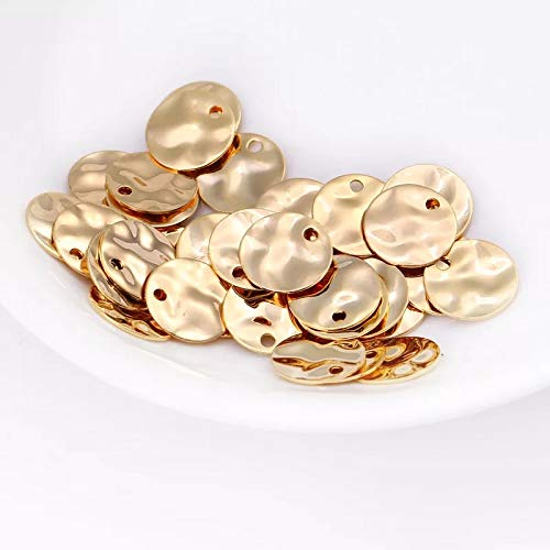 (12pcs Hammered Disc Charms 8mm Polished Gold Plated Brass Round Coin Beads  (8mm)