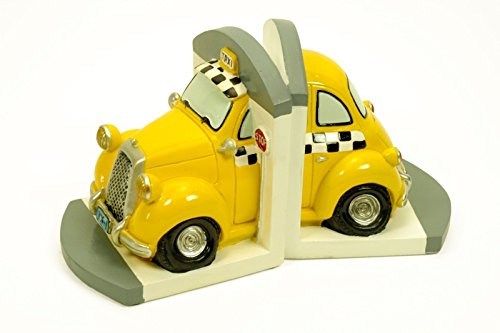 Figura Infantil Decorativa Sujetalibros Taxi Esculturas Resina. 2 x (12 x 12 x 14 cm.)