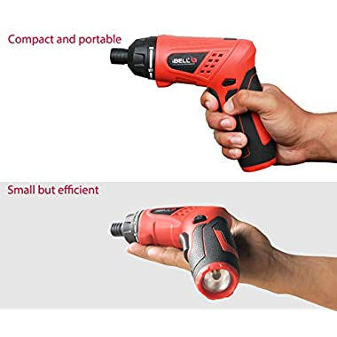 iBELL MS06-16 Cordless Rechargeable Electric Screwdriver 3.6V, 1500mAh Lithium Ion Battery MAX Torque 3.5Nm, 2 Flexible Position and 16 Torque Setting, Front LED and Rear Flashlight- 6 Months Warranty 10
