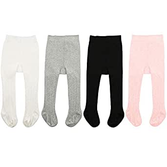 Zando Baby Tights Soft Seamless Cable Knit Infant Tights for Baby Girls Leggings Stockings Toddler Warm Socks Newborn Winter Clothes 4 Pack - Colorful Mixed Large/1-2 Year