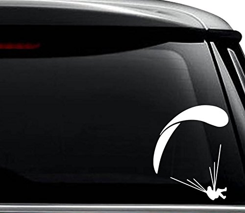 Paragliding Parchuting Sports Decal Sticker For Use On Laptop, Helmet, Car, Truck, Motorcycle, Windows, Bumper, Wall, and Decor Size- [6 inch] / [15 cm] Tall / Color- Gloss White