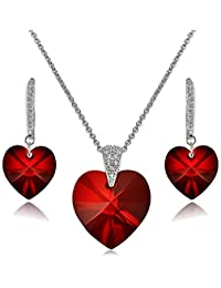 Sterling Silver Heart Necklace and Dangle Earrings Set Created with Swarovski Crystal