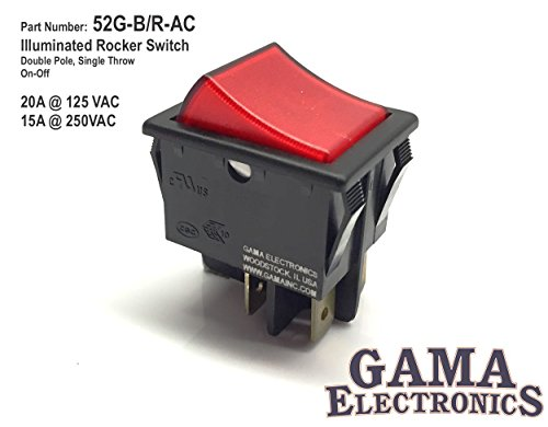 - GAMA Electronics 20 Amp Double Pole On-Off Illuminated Rocker Switch 120/240VAC DPST