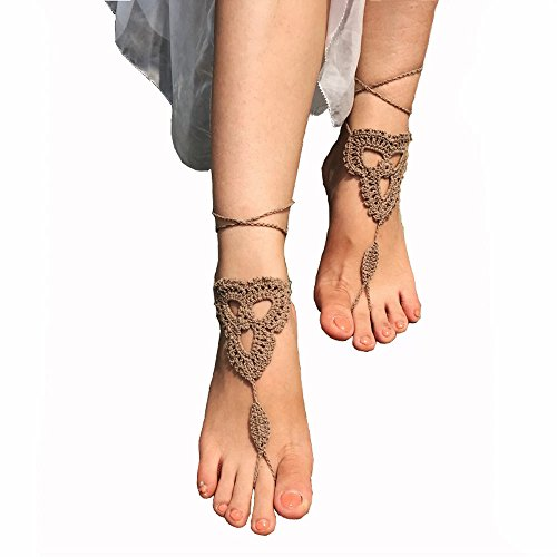Crochet Black Barefoot Sandals,Beach Pool,Nude shoes,Foot jewelry,Footless sandles,Beach Wedding Jewelry,Yoga Chain,Anklet, Wedding shoes, Beach Wedding, Summer shoes, One Size Fits All (Beige)