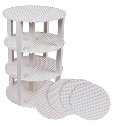 Strictly Briks Classic Stackable 8 Circle Baseplate Brik Tower Building Brick Set   100% Compatible with All Major Brands   4 Base Plates & 30 Stackers   White