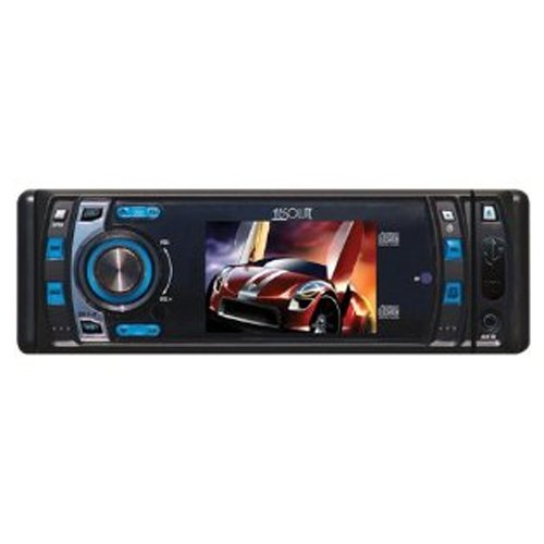 Absolute DMR400 4-Inch In-Dash Receiver with DVD Player Flip Down Detachable Panel, T feet Screen
