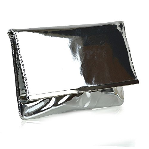 Womens Clutch Shoulder Handbag Envelope Ladies Prom Metallic Purse Silver UK Bag Evening Party rrcqdTwHAn