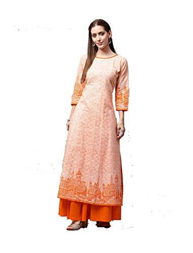 Women Orange & Off-White cotton Round Neck Printed A-Line Kurta with Skirt - White Kameez Cotton Salwar Off