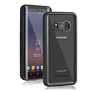 Samsung Galaxy S8 Plus Waterproof Case, Meritcase Galaxy S8 Plus IP68 Waterproof Full Body Dustproof Snowproof Shockproof Case with Iris Recognition Kickstand for Surfing Diving 6.2 inch-- BLACK/CLEAR