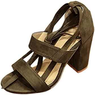 c23860b4e560 MM I Sandals for Women Suede Cross Bandages Thick with Ankle High Heels  Elegant Evening Party Dress