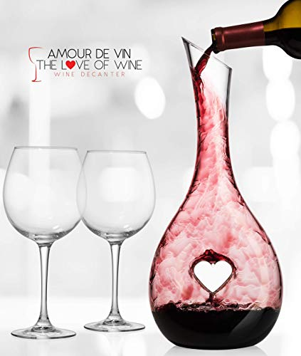 (Heart Shaped Wine Decanter - Amour De Vin - 100% Hand Blown Lead-free Crystal Glass, Red Wine Carafe, Wine Gift, Wine Accessories, Wine Aerator)