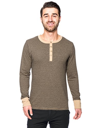Stripe Double Layer Tops (Men's Double Layer Thermal Henley Top - Stripes Black/Brown -)