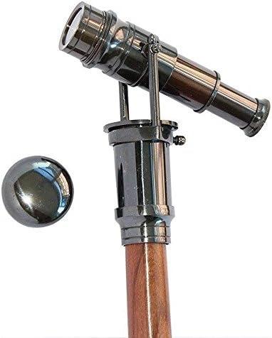 Antique Brass Walking Telescope Handle Cane Brass Wood Stick Folding Hidden Spy