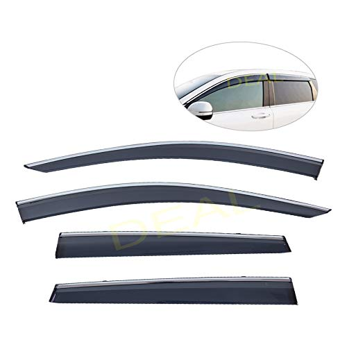 DEAL 4-piece set vent window visor with smoke chrome trim, side window rain guard with outside mount tape-on/clip-on type, custom fit high-class quality for 2017-2019 Honda CR-V all models