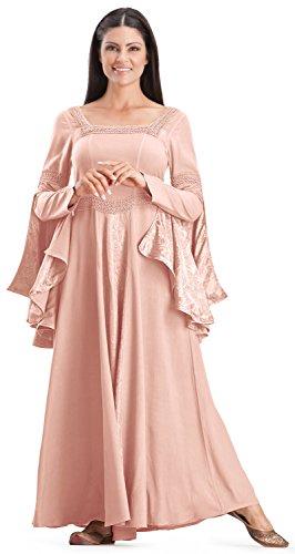 [HolyClothing Arwen Square Neck Renaissance Medieval Princess Gown Dress - 3X-Large - Cotton Candy] (Pink Renaissance Dress)
