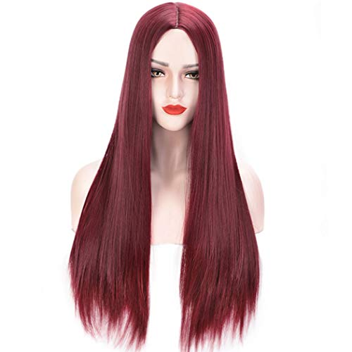 (Qaccf Women's Long Straight Middle Part Synthetic Cosplay Costume Full Wig (Dark)