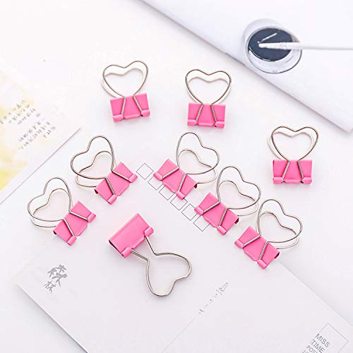 4 pcs/lot Pink Clip Heart Hollow Out Metal Binder Clips Notes Letter Paper Clip Office Supplies FOD