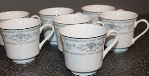 """FINE CHINA OF JAPAN ~ Diane SET/ 6 ~ CUPS only 3 1/8"""" ~Blue Flowers, Tan Baskets/Scrolls"""