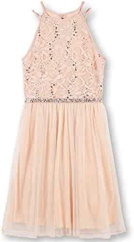 Speechless Big Girls' Sequin Lace/Mesh Tulle High Neck Dress