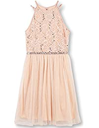Big Girls' Sequin Lace/Mesh Tulle High Neck Dress