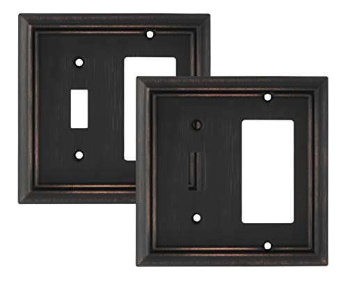 - Pack of 2 Wall Plate Outlet Switch Covers by SleekLighting | Decorative oil rubbed bronze | Variety of Styles: Decorator/Duplex/Toggle / & Combo | Size: 2 Gang Combo Toggle and Decorator