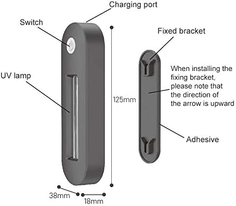 ZMINXIA St/érilisateur USB Charg/é WC portable UV LED Lumi/ère st/érilisateur de d/ésinfection Stick Lampe Noir