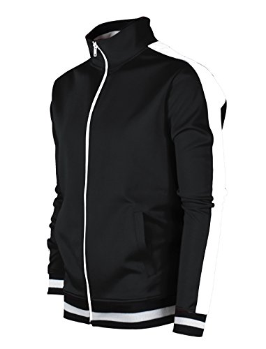 Black Track Jacket - SCREENSHOTBRAND-51700 Mens Urban Hip Hop Premium Track Jacket - Slim Fit Side Taping Basic-Black-Medium