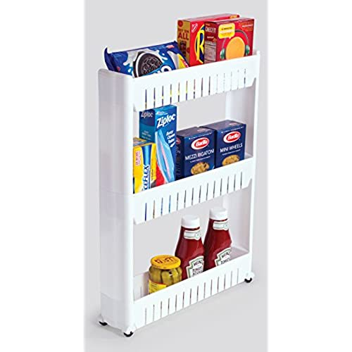 Bathroom And Kitchen Slim Storage Organizer   Slide Out Shelf Storage Tower  As A Plastic Small Mobile Shelving With 3 Shelves For Narrow Space  Organization ...