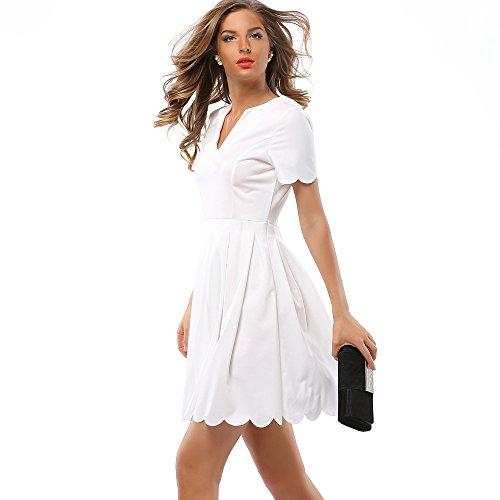 ZHUDJ La Mujer Collar _V El Vestuario De La Mujer Vestido Irregular white